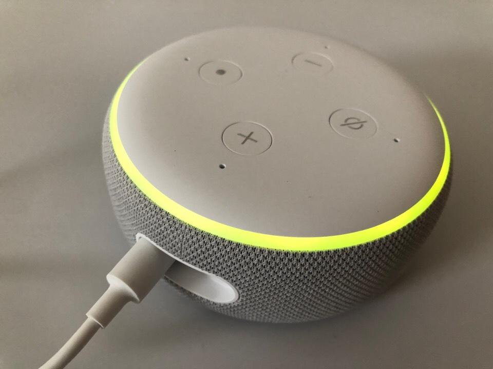Echo Dot with clockの初期設定が終わった