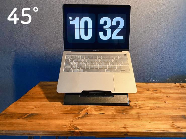 MOFT Zの角度45℃にノートPCを置く