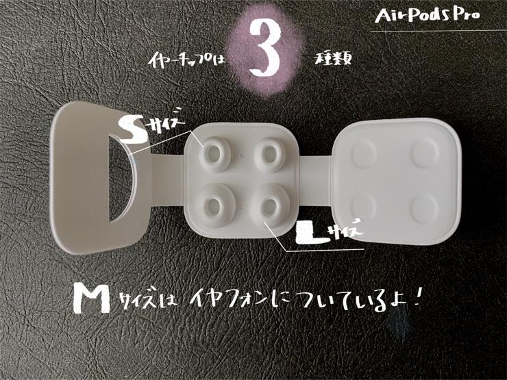AirPod Proのイヤーチップは3サイズ