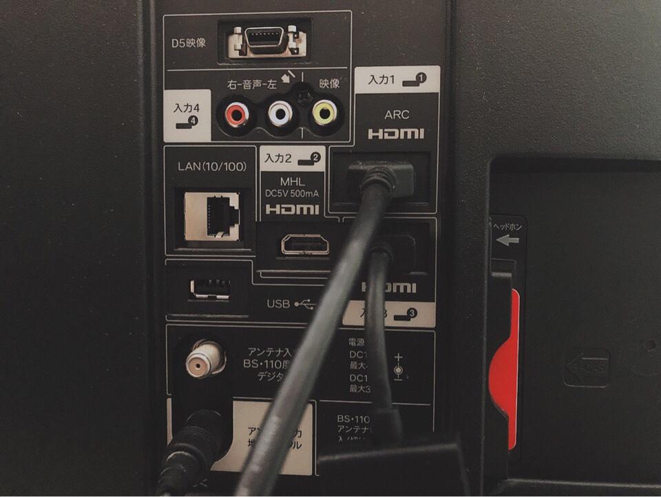 Fire TV StickをHDMI入力ポートに差し込んだ