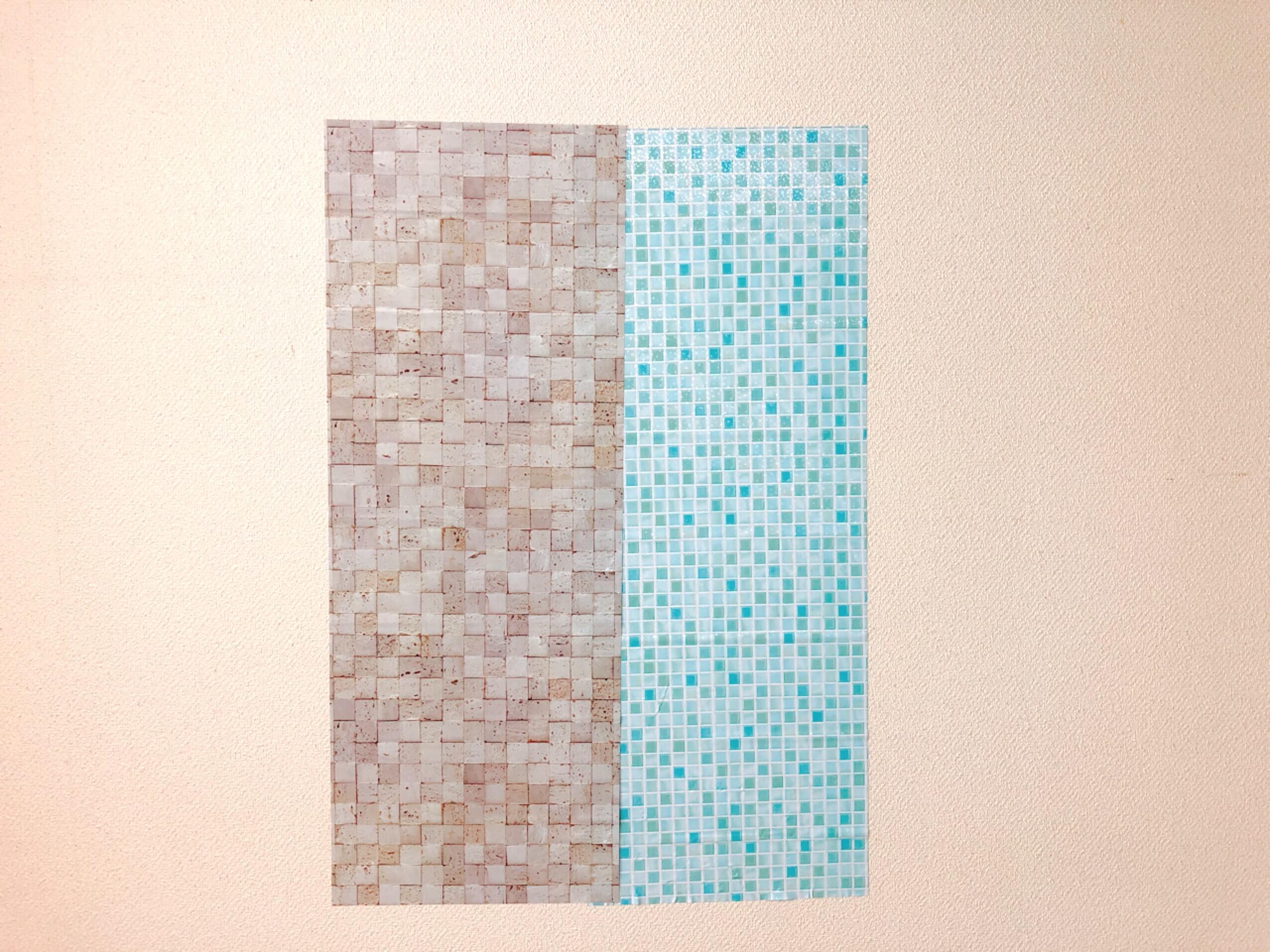 ダイソーのリメイクシート コンクリート柄とカラータイル柄を並べてみた
