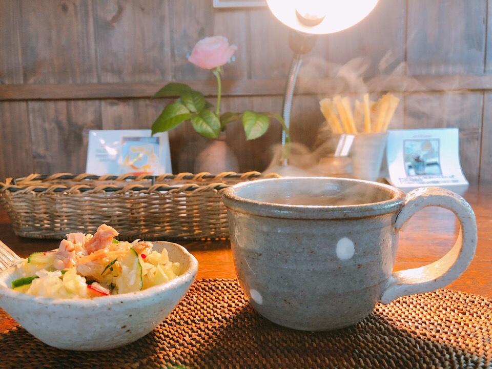 カフェ・ド・ジーノのミニサラダとミニスープ