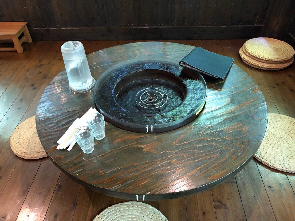 山の寺 邑居のテーブルには水が流れている