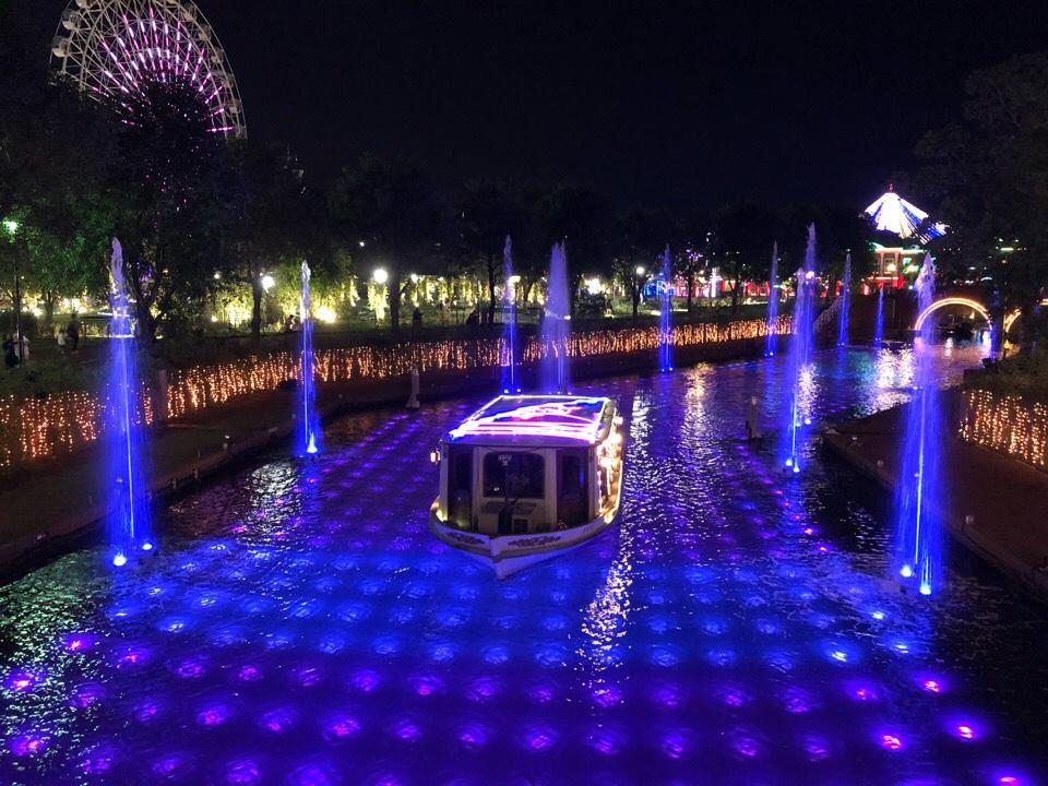 ハウステンボス光の王国2018の光と噴水の運河